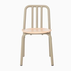 Olive Grey Tube Chair with Oak Seat by Eugeni Quitllet for Mobles 114