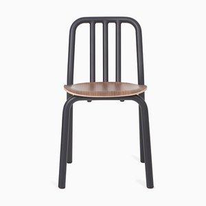 Schwarzer Tube Stuhl mit Sitz aus Nussholz von Eugeni Quitllet für Mobles 114