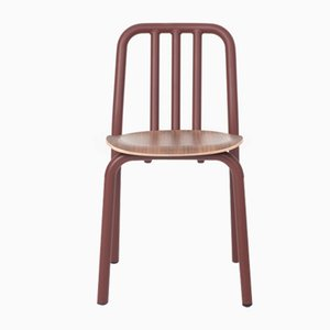 Chestnut Brown Tube Chair with Walnut Seat by Eugeni Quitllet for Mobles 114