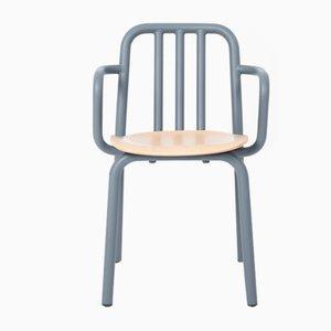 Blaugrauer Tube Sessel mit Sitz aus Eiche von Eugeni Quitllet für Mobles 114