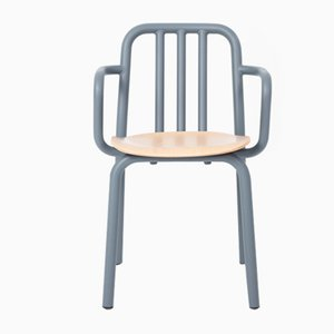 Blue-Grey Tube Armchair with Oak Seat by Eugeni Quitllet for Mobles 114