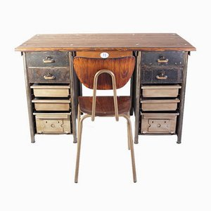 Industrial Writing Desk and Chair, 1950s, Set of 2