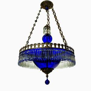 Blauer Vintage Glas Kronleuchter