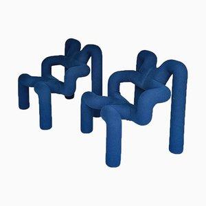 Blue Extreme Armchairs by Terje Ekstrøm for Stokke, 1970s, Set of 2