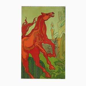 Italian Painting, Surrealist Subject with Horse