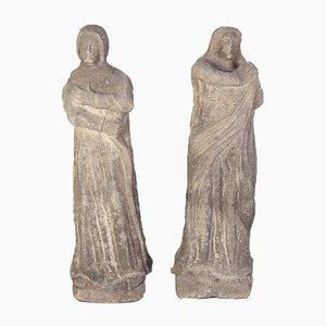 Estatuas Calvaire de Santa María y San Juan, década de 1800. Juego de 2