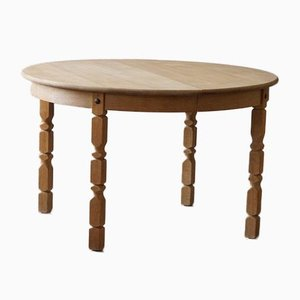 Mid-Century Danish Round Dining Table with 2 Extensions in Solid Oak, 1960s