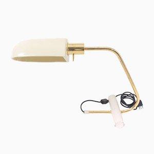 Tisch- oder Schreibtischlampe mit Messing und Keramik Lampenschirm, Italien, 1970er oder 1980er