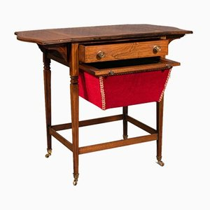 Antique English Regency Drop Leaf Sewing Table in Rosewood, 1820s