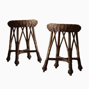 Vintage Scandinavian Rattan Stools in the Style of Tony Paul, 1960s, Set of 2