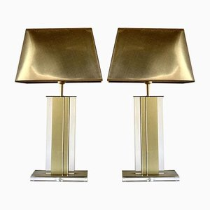 Gold and Clear Lucite Table Lamps, Belgium, 1970s, Set of 2