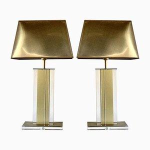 Tischlampen aus Gold und klarem Plexiglas, Belgien, 1970er, 2er Set