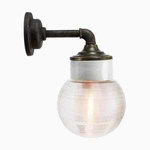 Vintage Industrial White Porcelain, Clear Striped Glass & Brass Wall Lamp