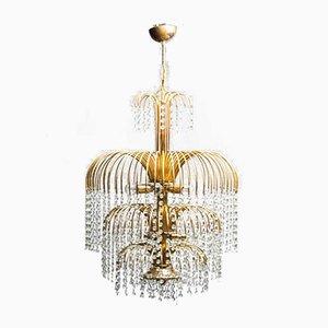 Lámpara de araña vintage de metal dorado con 10 luces, años 70