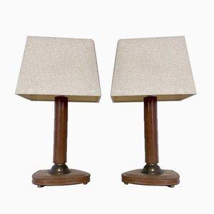 Französische Tischlampen aus genähtem Leder & Messing, 1960er, 2er Set