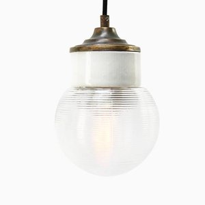 Vintage Industrial White Porcelain, Ribbed Clear Glass & Brass Pendant Lamp