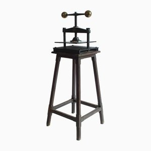 Antique Brass and Cast Iron Book Press with Original Stand from Alexanderwerk, Germany, 19th Century