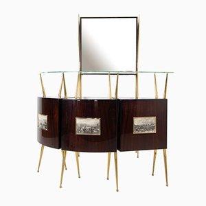 Mueble bar de latón y madera atribuido a Gio Ponti y Piero Fornasetti, Italia, años 50. Juego de 4