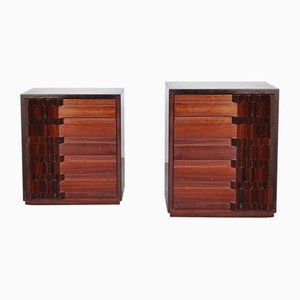 Walnut Diamante Series Bedside Tables by Luciano Frigerio, 1970s, Set of 2