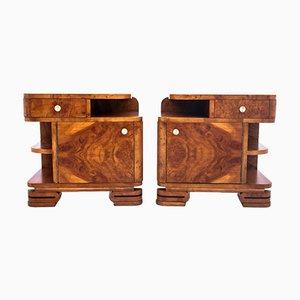 Polish Art Deco Bedside Tables, 1950s, Set of 2