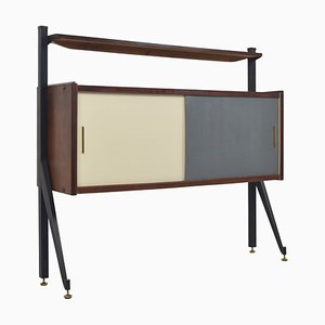 Italian Modern Cabinet with Colored Sliding Doors, Italy, 1970s