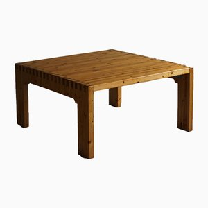 Danish Modern Square Solid Pine Coffee Table, 1970s