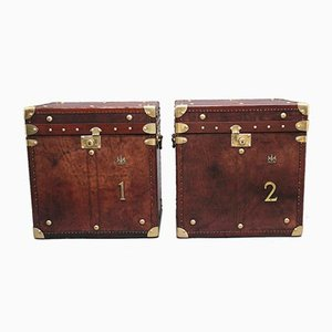 Early 20th Century Leather Bound Army Trunks, Set of 2
