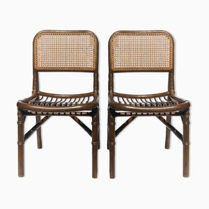 Bambus Rattan Stühle mit Rückenlehne aus Gurtband von Rohé Noordwolde, Niederlande, 1970er, 2er Set