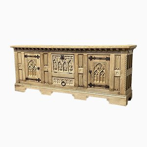 Large French Gothic Bleached Oak Sideboard