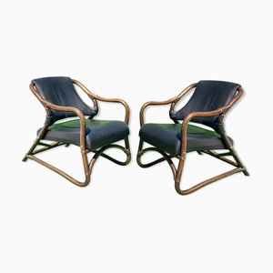 Bamboo Lounge Chairs with Skai Leather, Set of 2