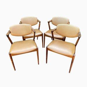 Modell 42 Esszimmerstühle aus Palisander von Kai Kristiansen, 4er Set