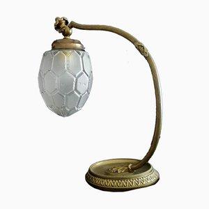 Jugendstil Tischlampe aus Messing & Glas, 1930er