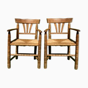 German Bobbin Turned Side Chairs with Rush Seats, Set of 2