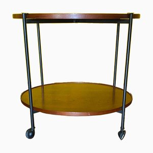 Folding Cart with Oval Shelves in Teak Wood by Paolo Tilche