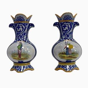 Steingut Vasen von Quimper, Spätes 19. Jh., 2er Set
