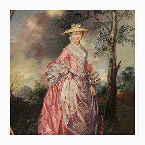 Italienisches Ovales Gemälde, Porträt einer Dame