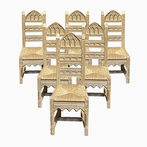 French Gothic Oak Dining Chairs, Set of 6