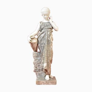 Antique Statue of Woman with Amphora in Alabaster and Marble by Pugi, 19th Century