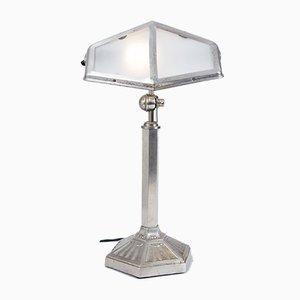 Französische Verstellbare Art Deco Lampe aus Nickel und Messing, 1920er