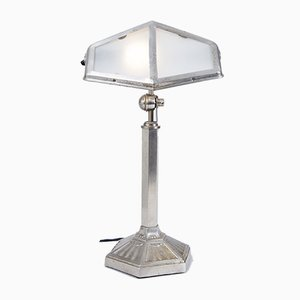 French Art Deco Adjustable Lamp in Nickel and Brass, 1920s