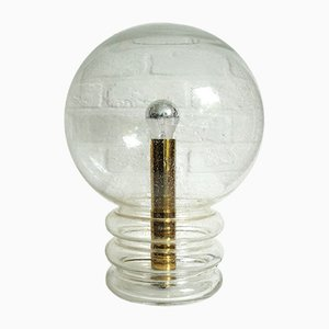 Large Space Age Table Lamp in Ice Glass and Brass from Glashütte Limburg, 1970s