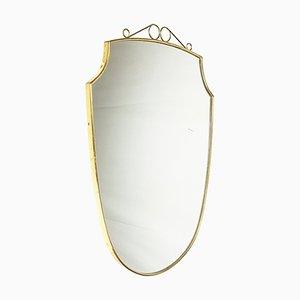 Italian Mid-Century Modern Wood, Brass & Glass Wall Mirror