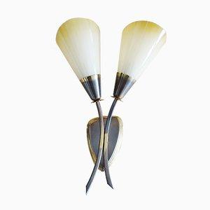 Goldene Wandlampe aus Messing & Glas, 1950er