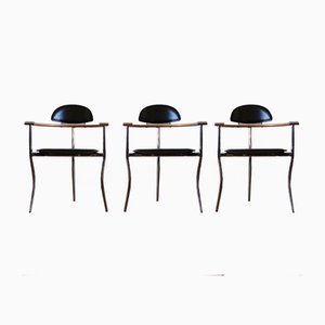 Italian Leather, Wood and Chrome Marylin Chairs from Arrben, Set of 3