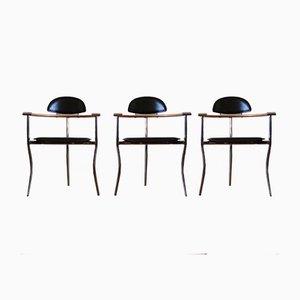 Italienische Marylin Stühle aus Leder, Holz & Chrom von Arrben, 3er Set