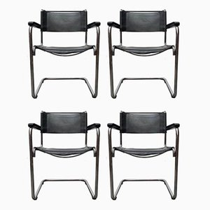 Vintage German Leather S34 Cantilever Chair by Mart Stam for Thonet, Set of 4
