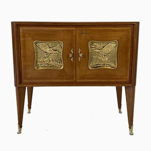 Italian Art Deco Cherry Wood and Gold Leaf Cabinet, 1940s