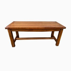 Farmhouse Dining Table in Solid Oak with 2 Drawers, 1950s