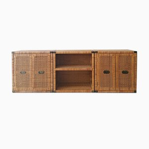Vintage Woven Rattan Cabinets with Brass Door Pulls, USA, 1970s or 1980s, Set of 3