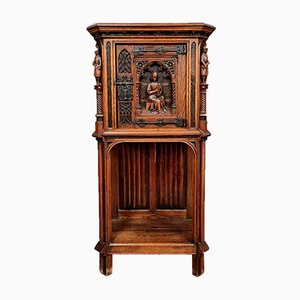 Medieval Style Solid Oak Cabinet, 1850s